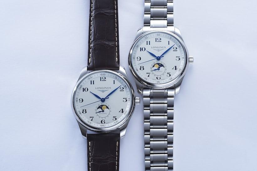 42mm(左)と40mm(右)のサイズ比較。42mmはかなり余裕のあるデザインで、40mmは余白の少なさから針やムーンフェイズがより際立っている。