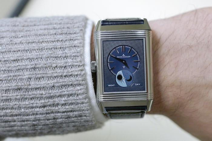Jaeger-LeCoultre Reverso Tribute Moon home time wristshot