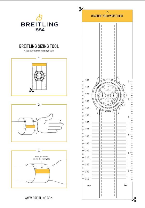 ブライトリングの手首サイズ測定用ガイド