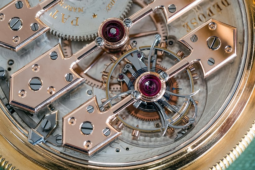 Girard Perregaux observatory tourbillon pocket watch, balance and cage closeup