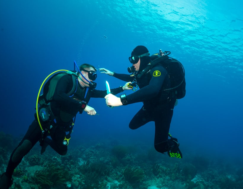 The author and friend reenact a Thunderball fight scene.