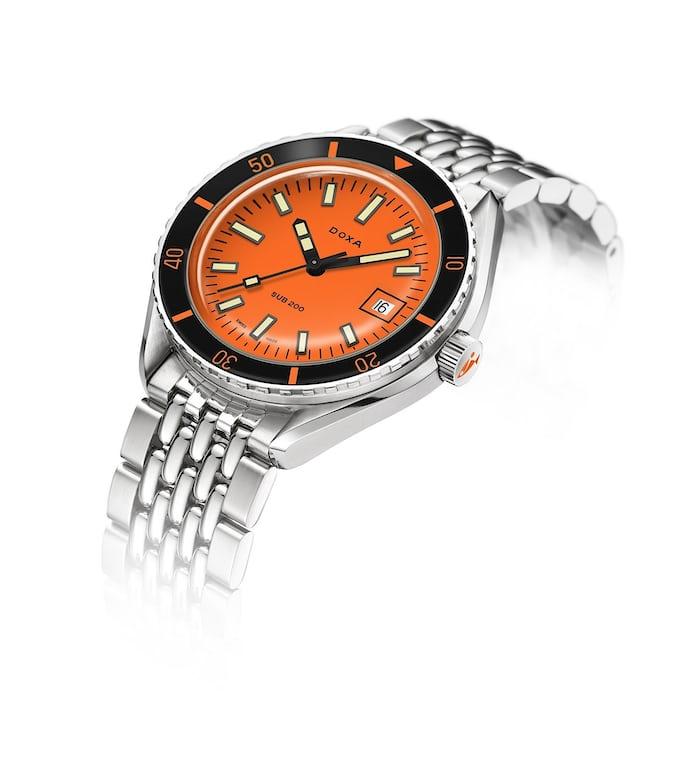 Doxa Sub with an orange dial