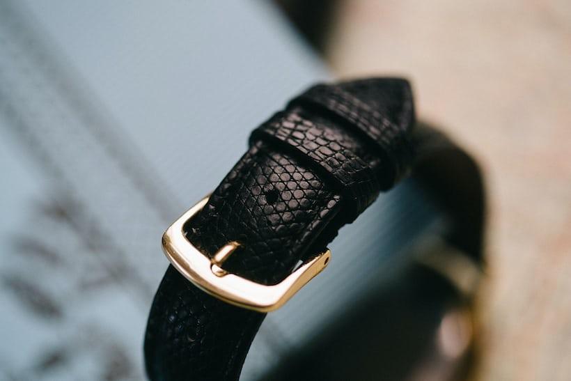 A black lizard watch strap